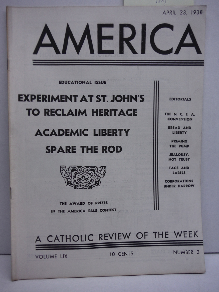 America A Catholic Review of the Week Vol LIX No. 3 (April 23, 1938)