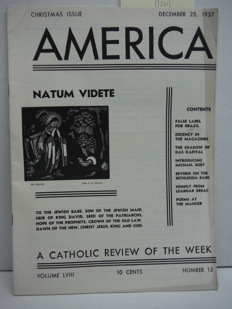 America A Catholic Review of the Week Vol LVIII No. 12 (December 25, 1938)