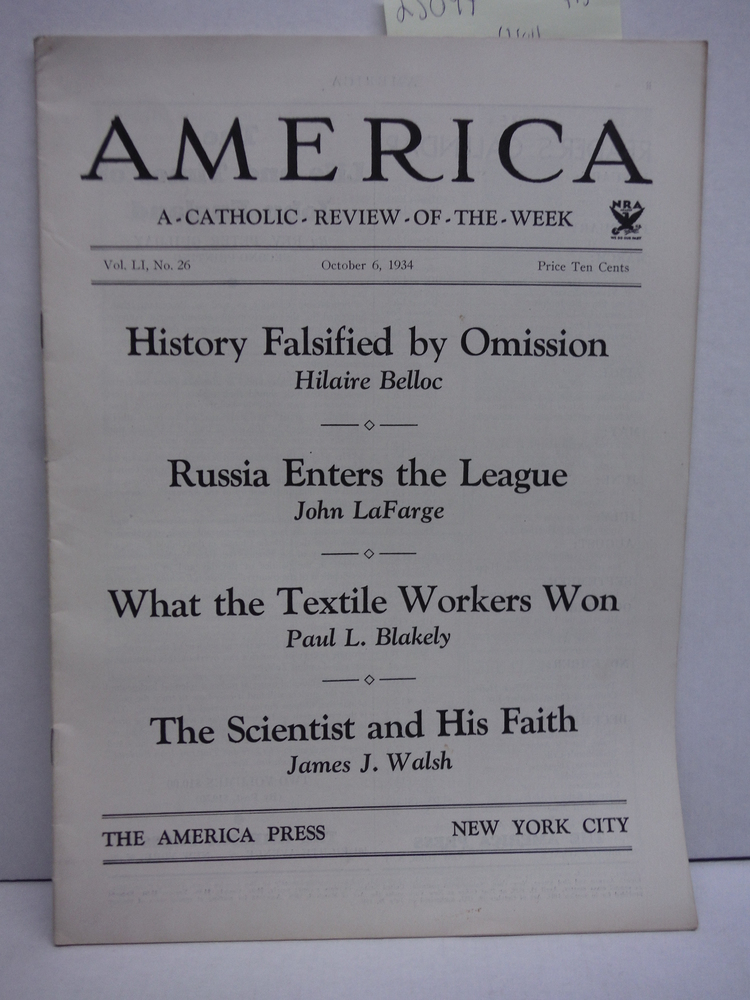 America A Catholic Review of the Week Vol LI No. 262 (October 6, 1934)
