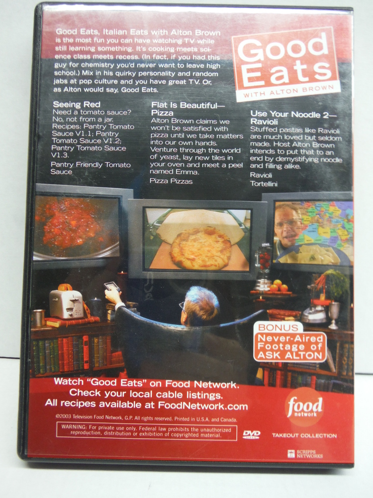 Image 1 of Food Network Takeout Collection DVD - Good Eats With Alton Brown - Italian Eats