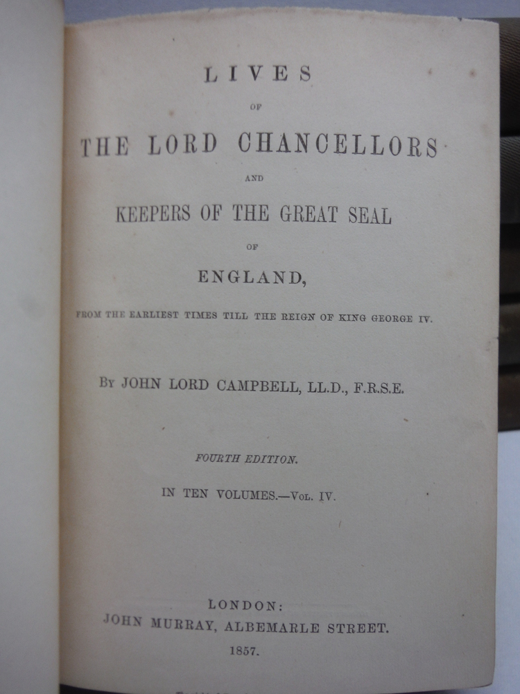 Image 1 of Lives of the Lord Chancellors and Keepers f the Great Seal of ngland