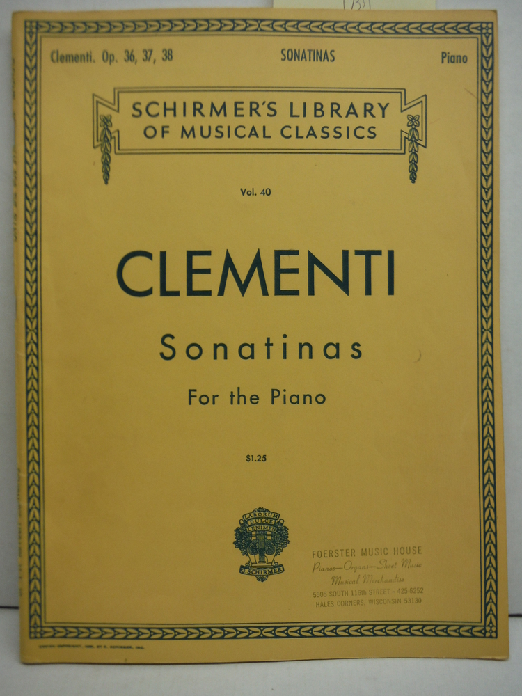 Clementi Sonatinas For the Piano (Schirmer's Vol. 40)