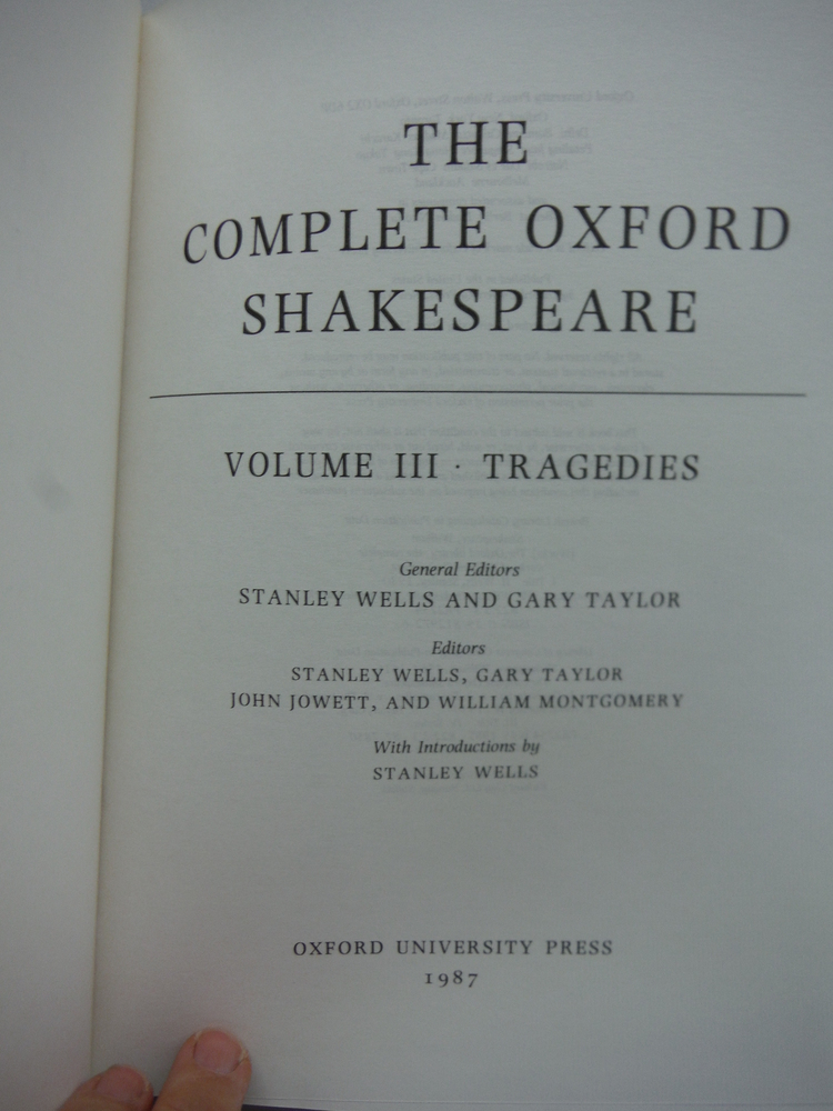 Image 2 of The complete Oxford Shakespeare / general editors Stanley Wells and Gary Taylor