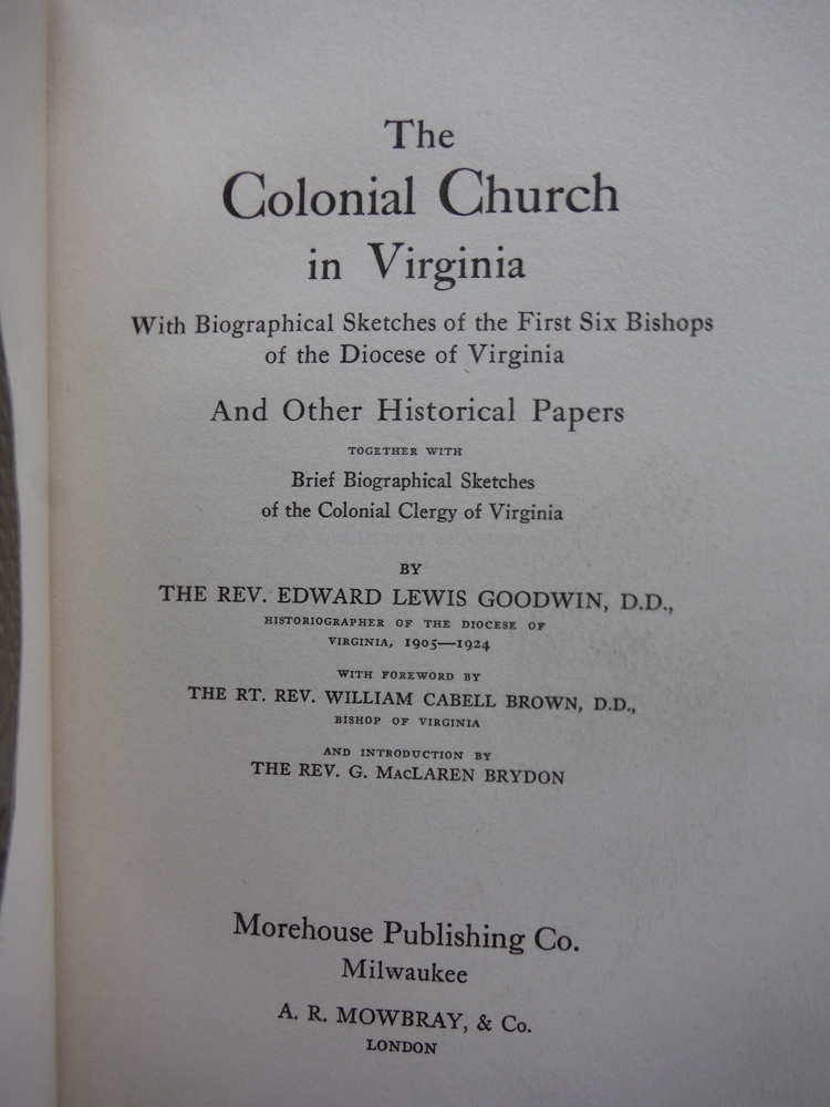 Image 1 of The Colonial Church in Virginia