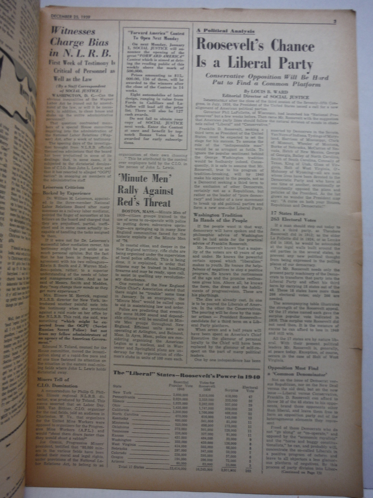 Image 1 of Social Justice National Weekly (Feb 6 - Dec 31, 1939 (44 issues)