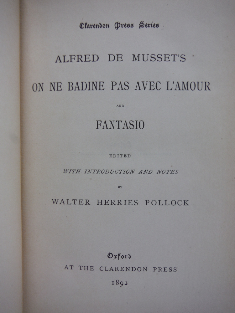 Image 1 of Alfred de Musset's on ne Badine Pas Avec L'amour and Fantasio