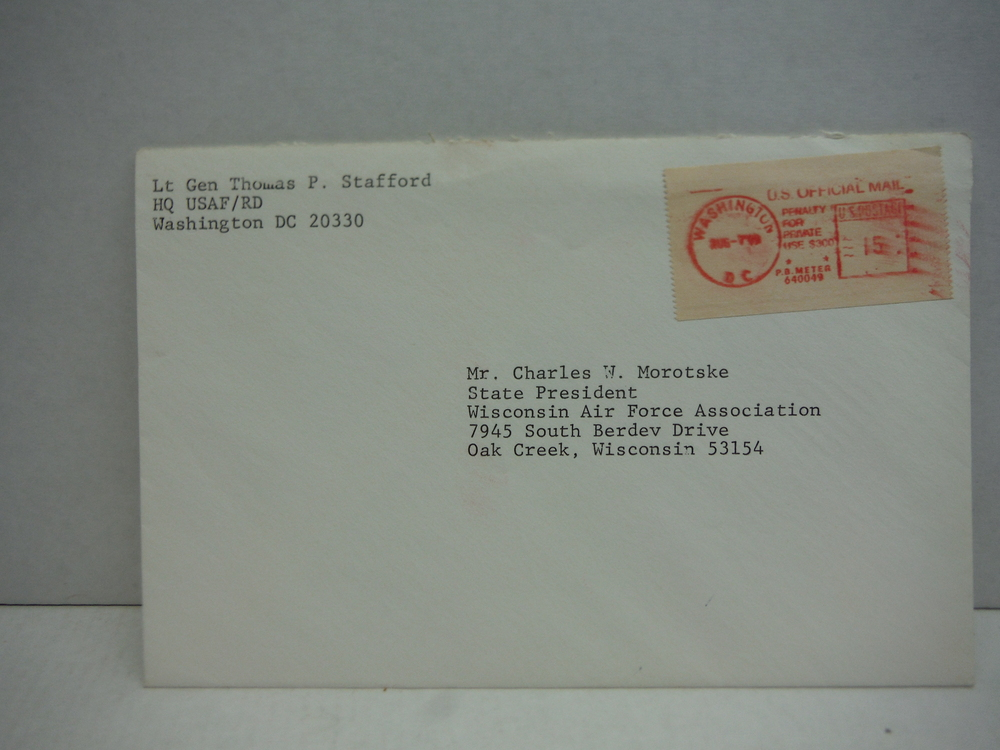 Image 1 of Signed letter by Lt. Gen Thomas P. Stafford 7 August 1979