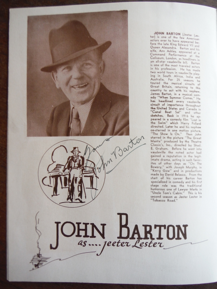 Image 2 of Autograph of John Barton from Souvenir Program for Tobacco Road at the Davidson