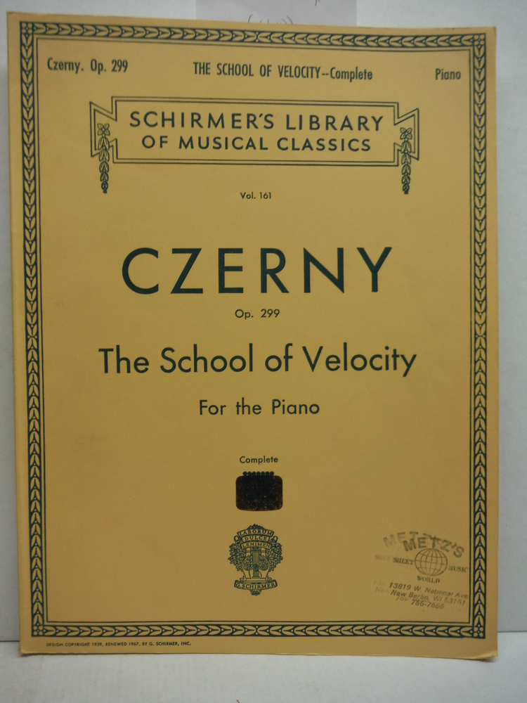 Czerny Op. 299 The School of Velicity For the Piano Complete