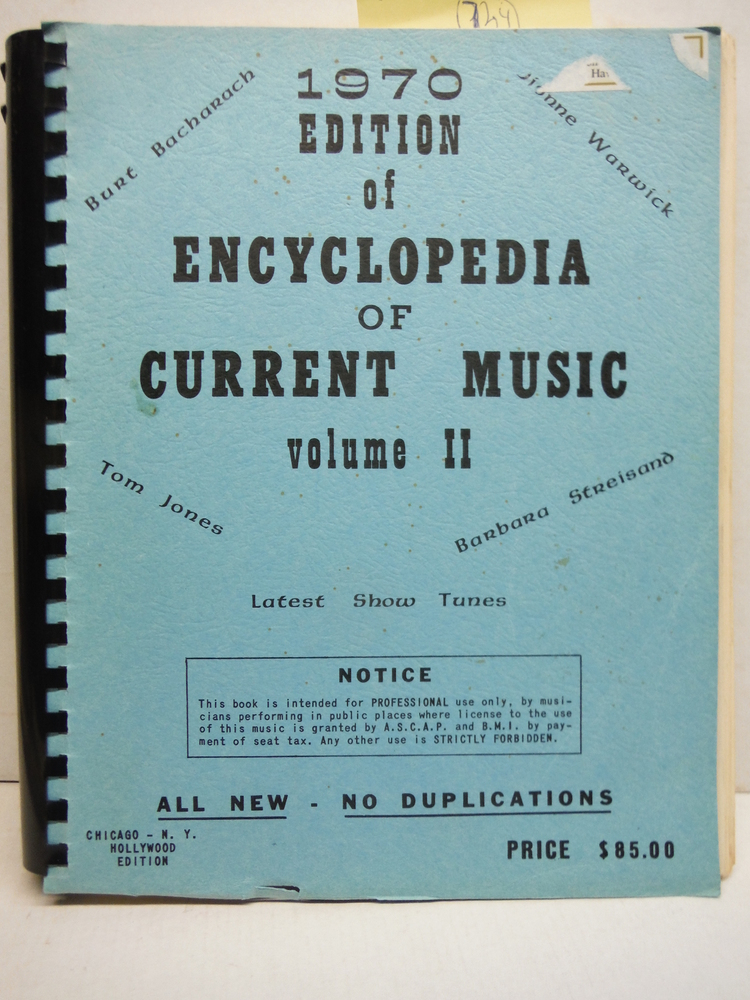 Image 0 of 1970 Edition of Encyclopedia of Current Music Voilume II