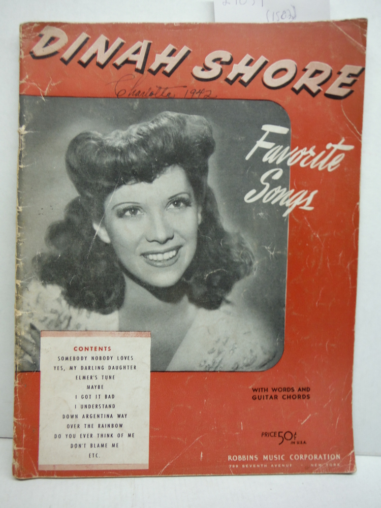 Image 0 of Dinah Shore: Favorite Songs [Songbook]