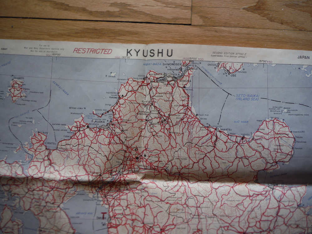 Image 1 of War Department Corps of Engineers Map of Kyushu, Japan (July 1945)