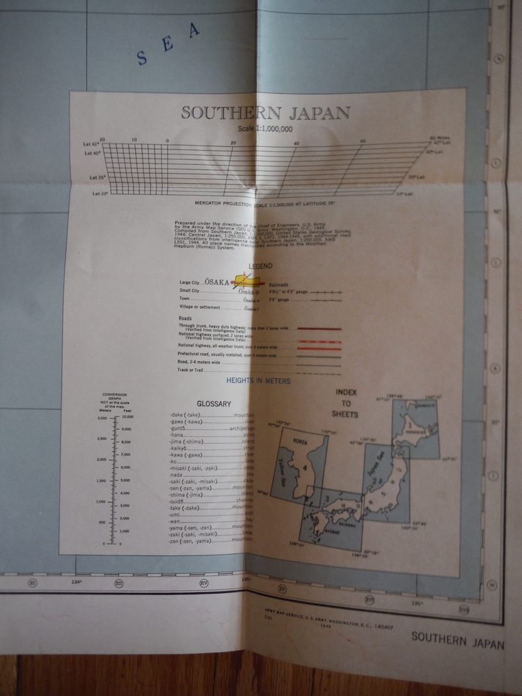 Image 1 of Army Map Service WW II Japan Road Map - Southern Japan (1945)