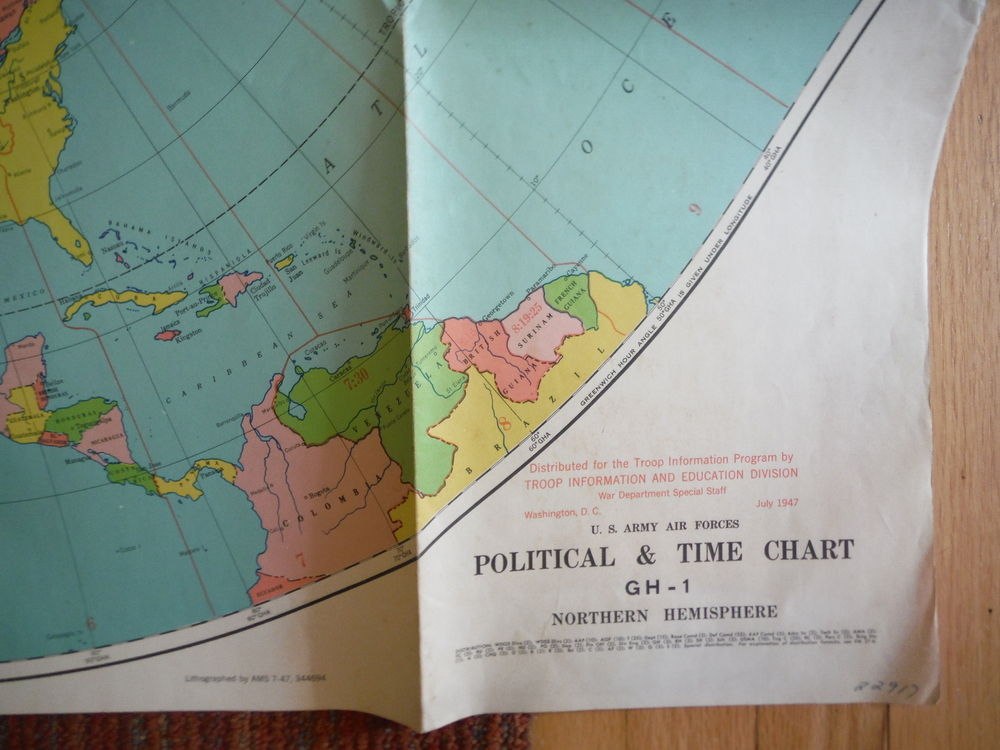 Image 1 of U.S. Army Air Forces Political & Time Chart GH-1 Northern Hemisphere (1947)