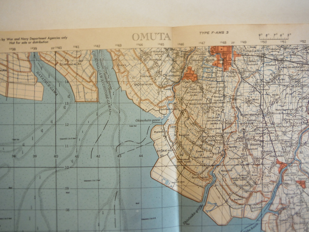 Image 1 of Army Map Service WW II Contour Map of  Omuta, Kyushu Japan (1945)
