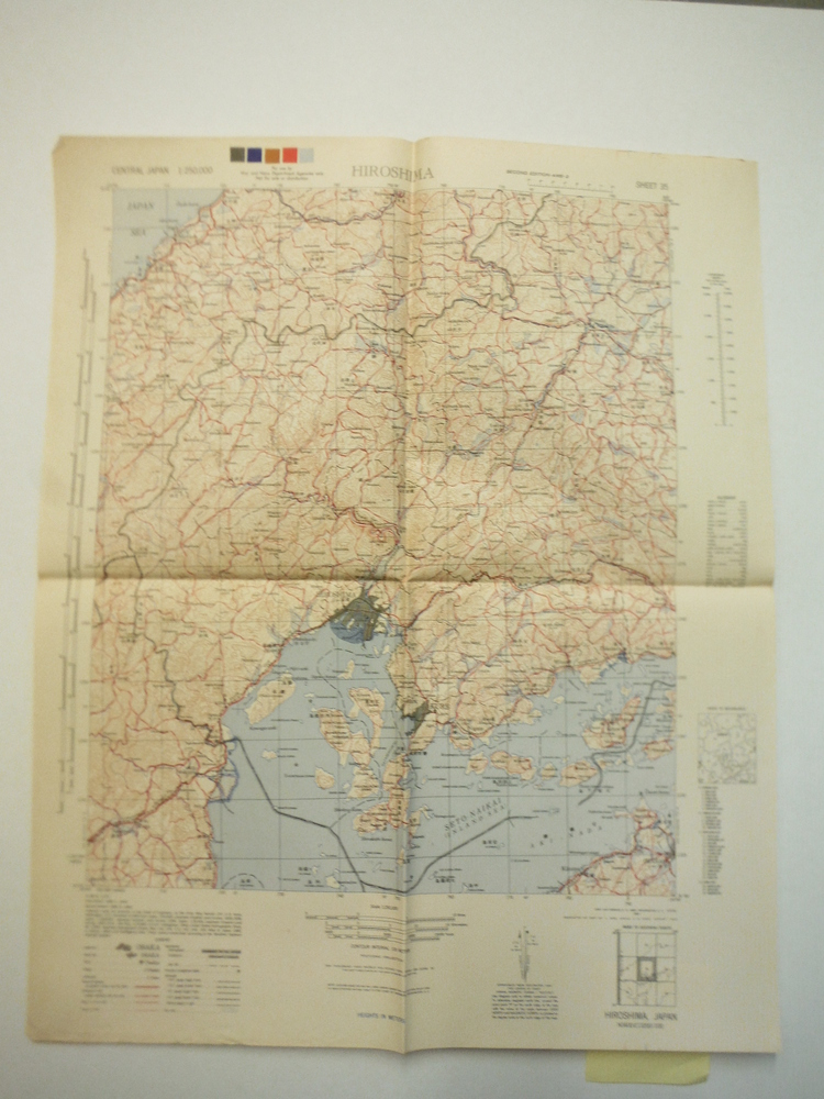 Army Map Service Contour Map of  HIROSHIMA, Central Japan (1945)
