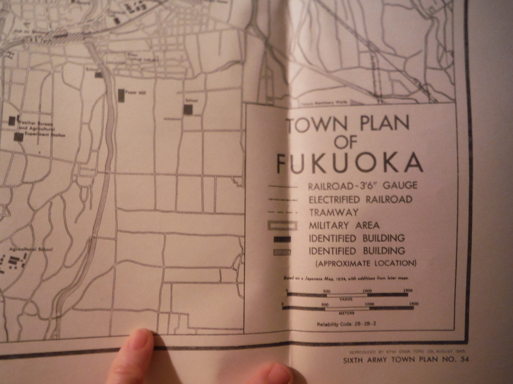 Army Map Service  Town Plan of  FUKUOKA, Japan (1945)