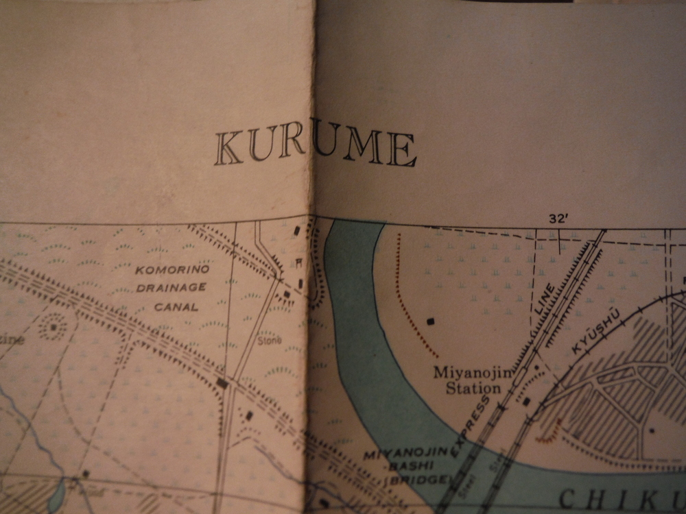 Army Map Service Map of  KURUME, FUKUOKA PREFECTURE, kYUSHI,  Japan (1944)