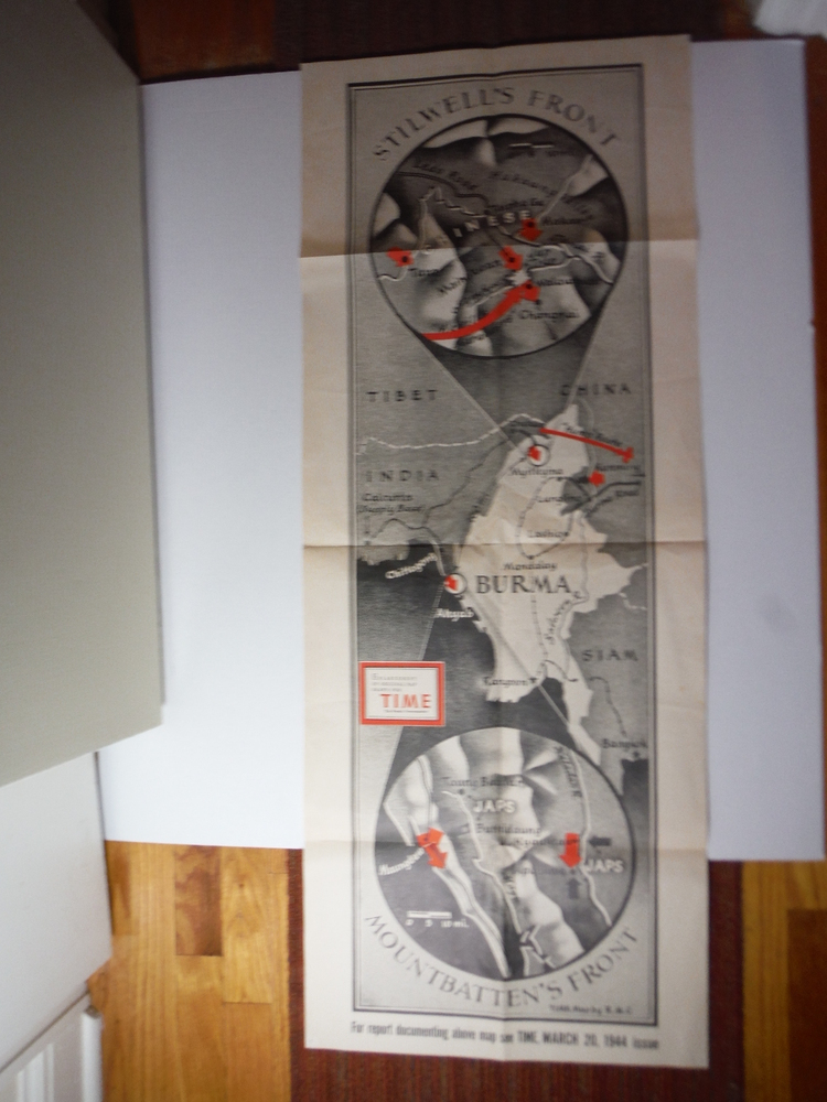 Time Magazine Enlarged WW II Poster Map  STILLWELL'S FRONT - MOUNTBATTEN'S FRONT