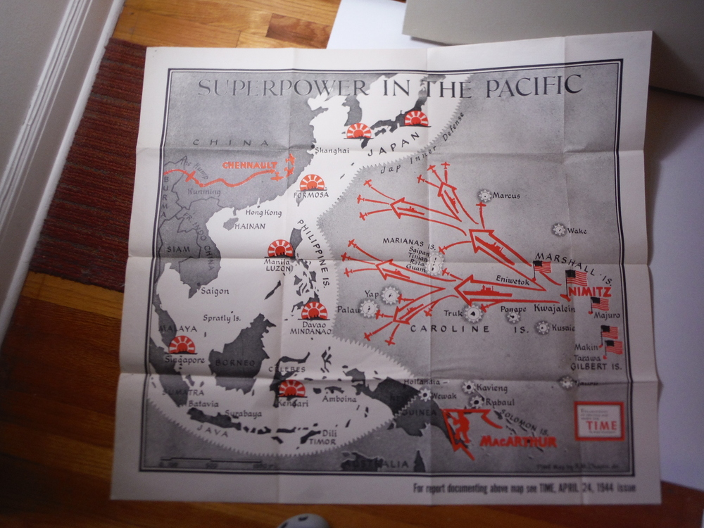 Time Magazine Enlarged WW II  Poster Map  SUPERPOWER IN THE PACIFIC (1944)