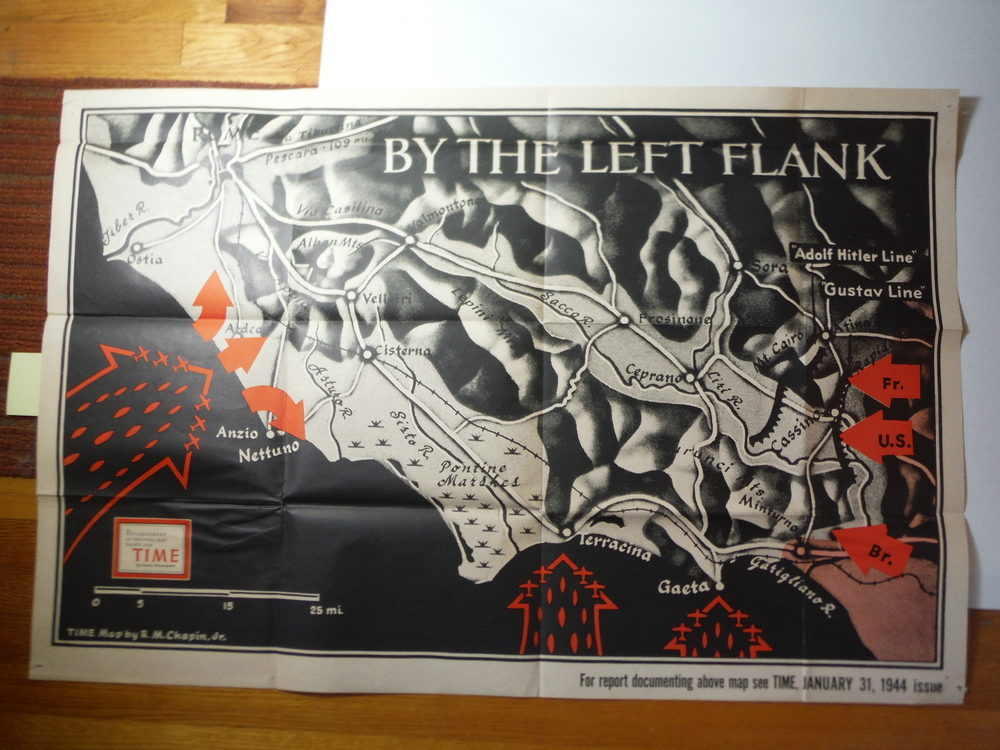 Time Magazine Enlarged WW II  Poster Map  BY THE LEFT FLANK (1944)