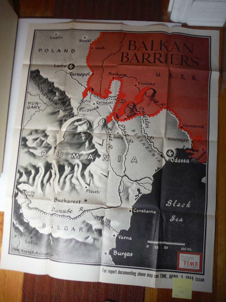 Time Magazine Enlarged WW II  Poster Map  BALKAN BARRIERS (1944)