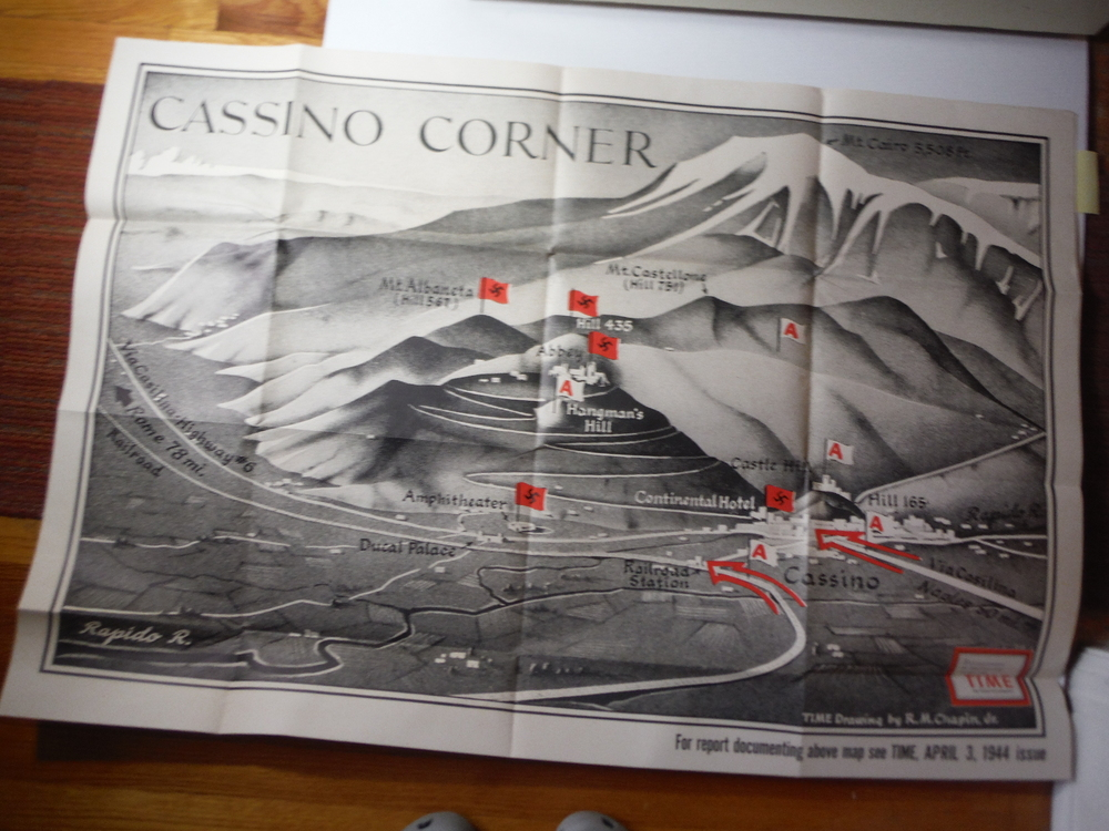 Time Magazine Enlarged WW II  Poster Map  CASSINO CORNER (1944)
