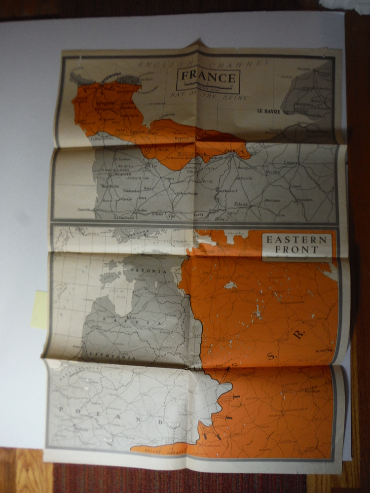 WW II NEWSMAP of France and Eastern Front (1944)