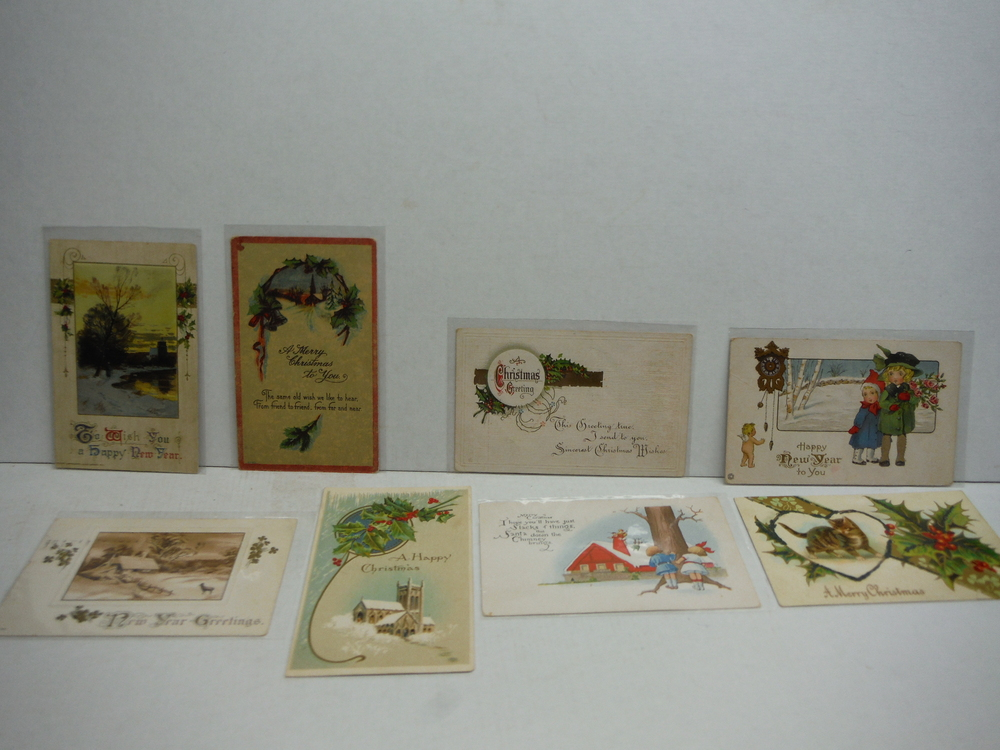 Vintage Christmas Holiday Postcards  - 1915-1916 (Lot of 8)