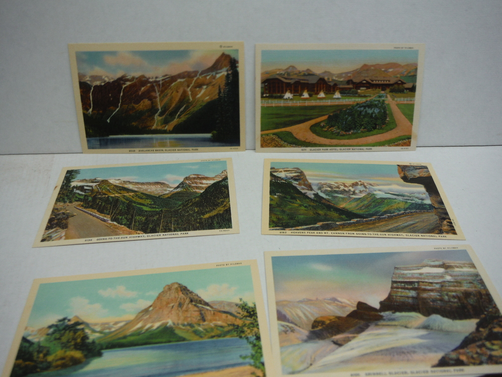 A Collection of Ten Colored Scenic Post Cards of Glacier National Park Put up by