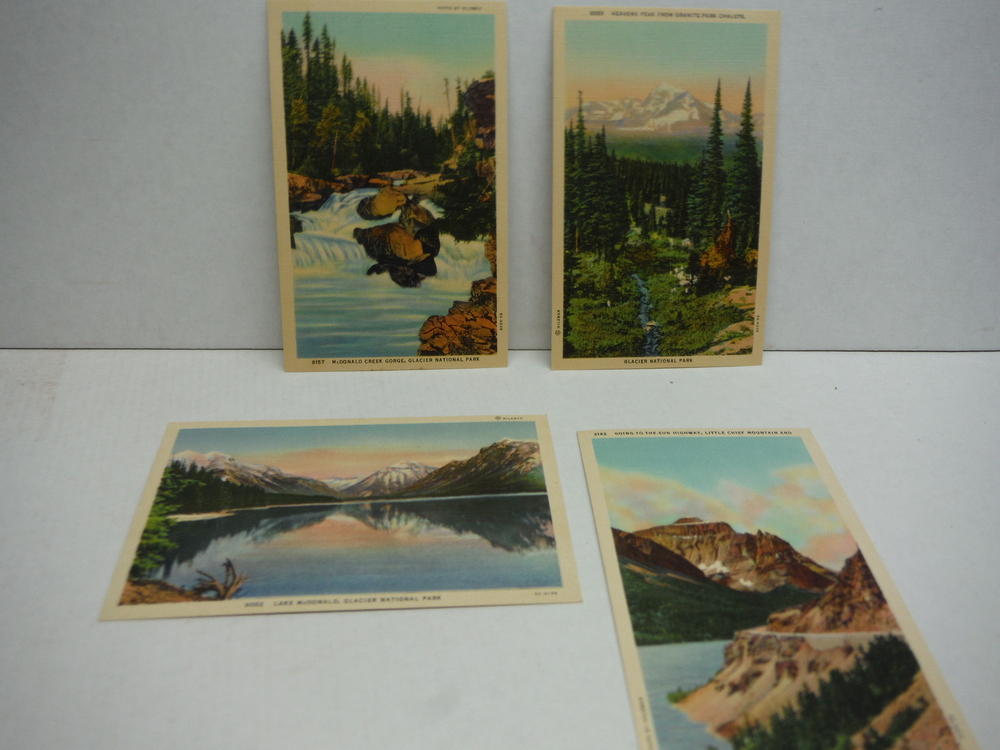 Image 2 of A Collection of Ten Colored Scenic Post Cards of Glacier National Park Put up by