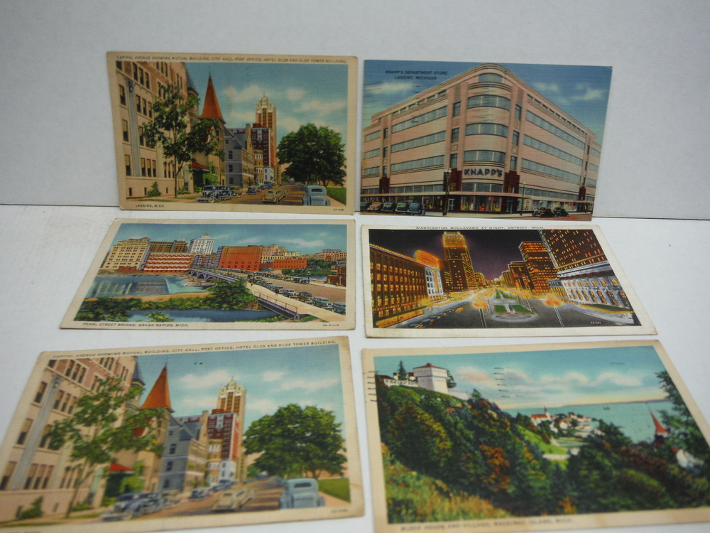 Vintage colored Linen Postcards of Michigan - lot of 12
