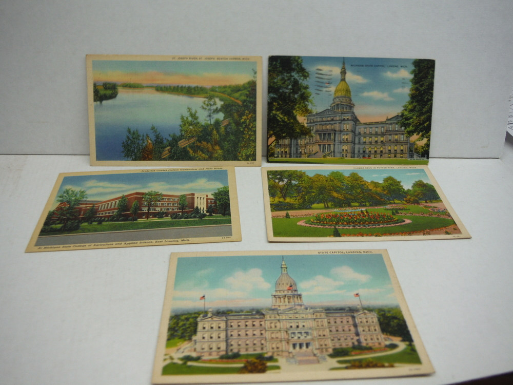 Image 1 of Vintage colored Linen Postcards of Michigan - lot of 12