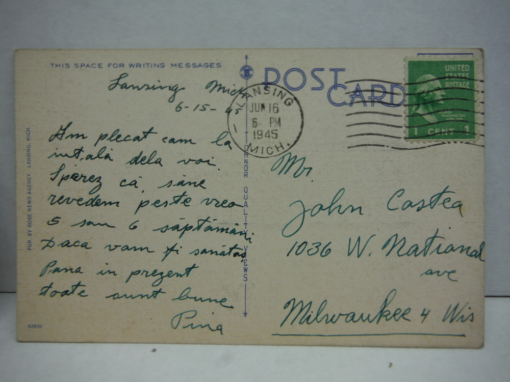 Image 2 of Vintage colored Linen Postcards of Michigan - lot of 12