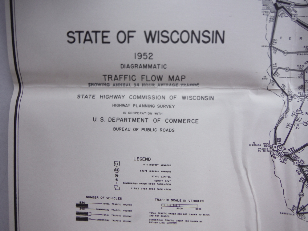 State of Wisconsin 1952 Diagrammatic Traffic Flow Map including  annual  24 hour