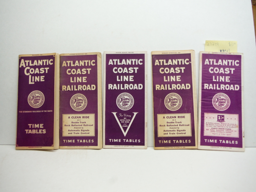 Atlantic Coast Line Time Tables - Lot of 5 (1934 - 1943)-
