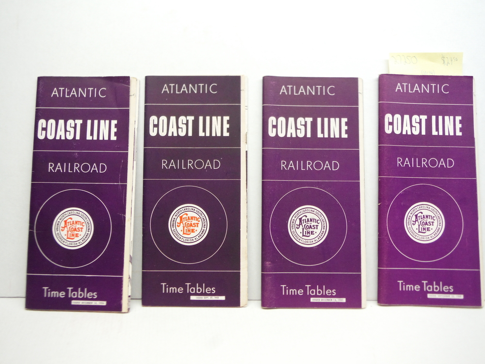 Atlantic Coast Line Time Tables - Lot of 4 (1949 - 1956)-
