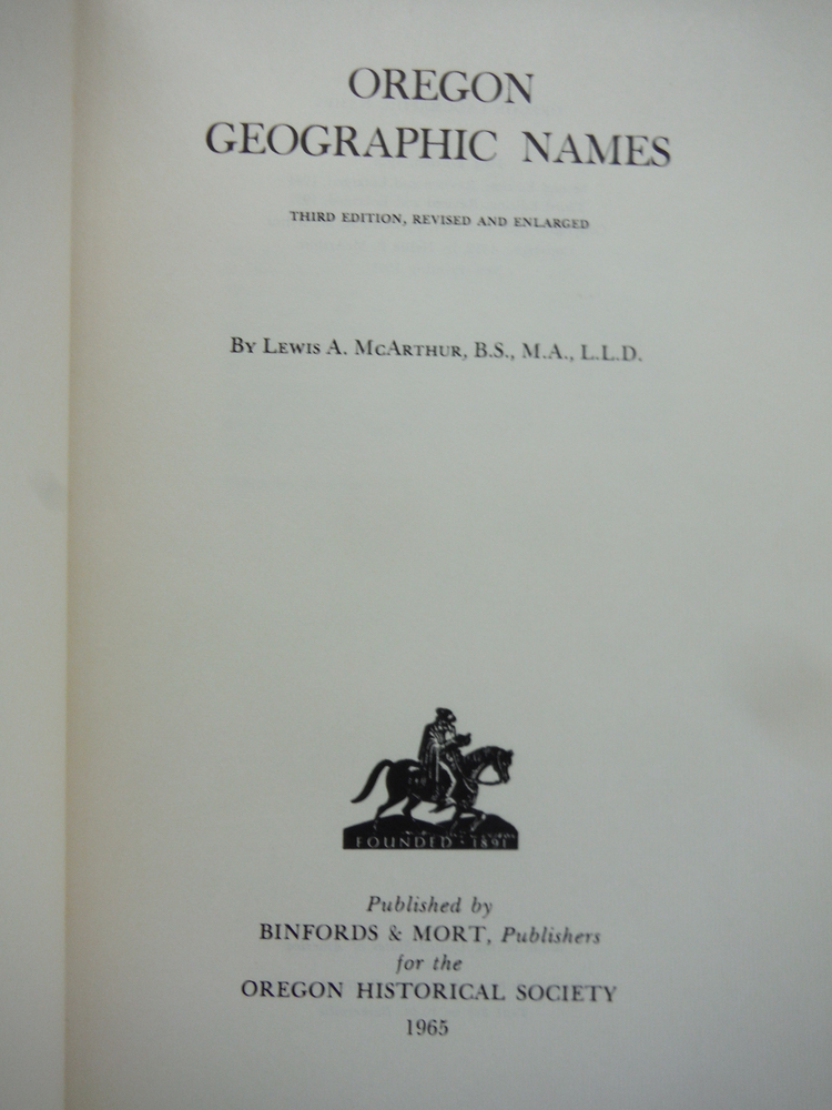 Image 1 of Oregon Geographic Names. Third Edition, Revised and Enlarged.