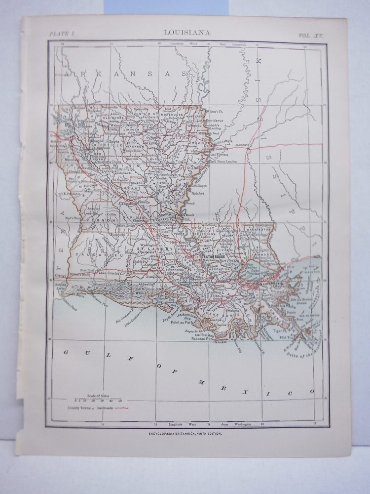 Antique Map of Louisiana from Encyclopaedia Britannica,  Ninth Edition Vol. XV P