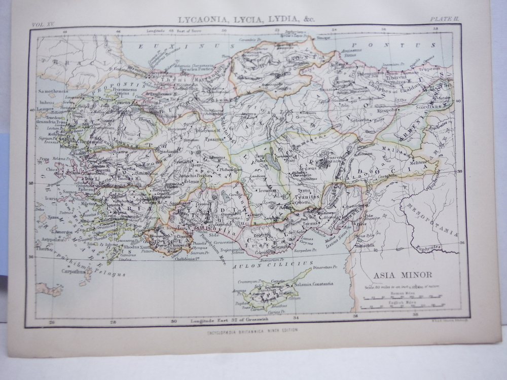 Antique Map of Lycaonia, Lycia, Lydia, Etc. from Encyclopaedia Britannica,  Nint