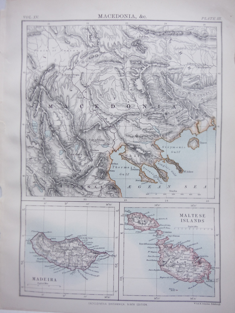 Antique Map of Macedonia, Madeira and Maltese Islands. from Encyclopaedia Britan