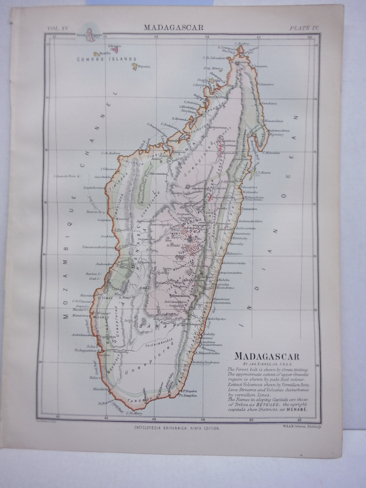 Antique Map of Madagascar from Encyclopaedia Britannica,  Ninth Edition Vol. XV