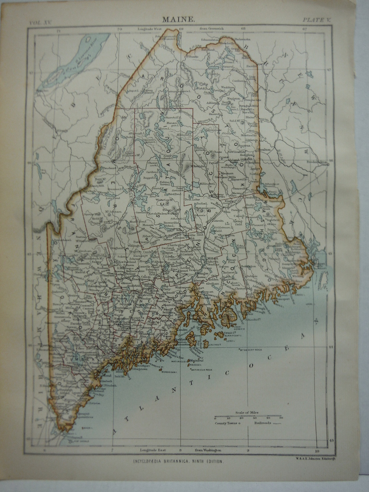 Antique Map of Maine from Encyclopaedia Britannica,  Ninth Edition Vol. XV Plate