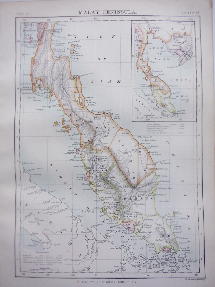 Antique Map of Malay Peninsula from Encyclopaedia Britannica,  Ninth Edition Vol