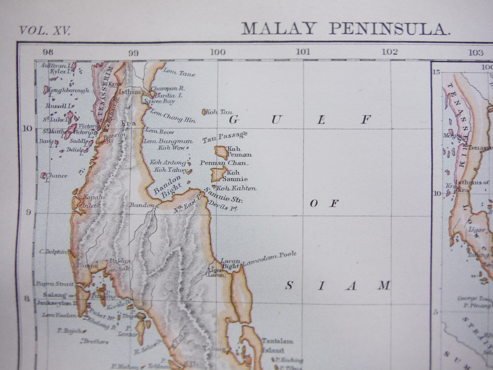 Image 1 of Antique Map of Malay Peninsula from Encyclopaedia Britannica,  Ninth Edition Vol