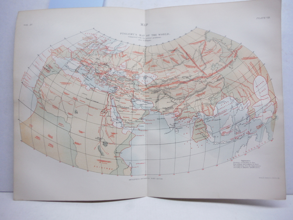 Antique Map of Ptolemy's Map of the World Compared with the actual positions Aft