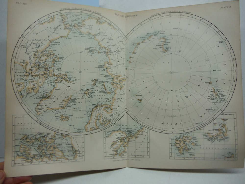 Antique Map of Polar Regions from Encyclopaedia Britannica,  Ninth Edition Vol.