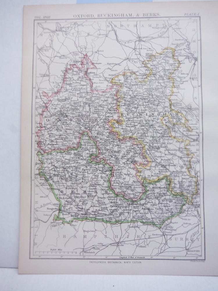 Antique Map of Oxford, Buckingham, & Berks from Encyclopaedia Britannica,  Ninth