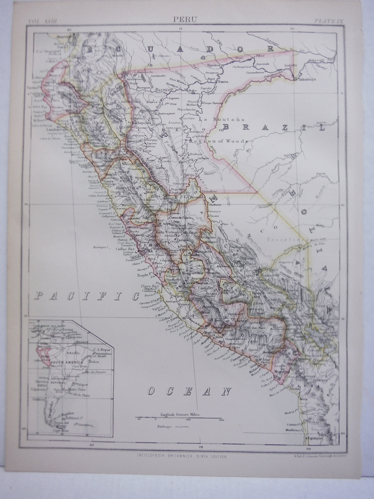 Antique Map of Peru from Encyclopaedia Britannica,  Ninth Edition Vol. XVIII Pla