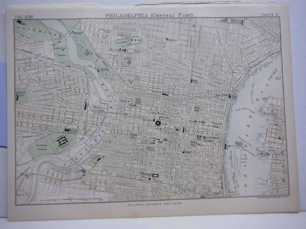 Antique Map of Philadelphia (Central Part) from Encyclopaedia Britannica,  Ninth